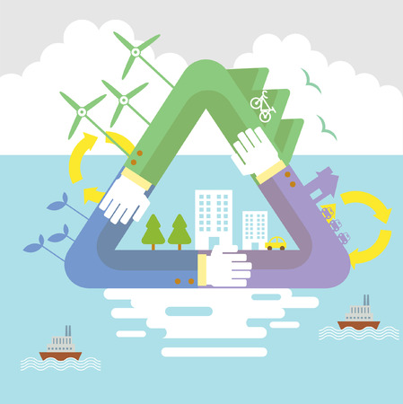 27024194 - set of flat design vector illustration concepts for ecology, recycling and green technology